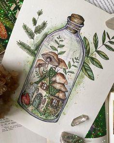 Indie Drawings, Cool Art Drawings, Art Drawings Sketches, Pencil Drawings, Pretty Art, Cute Art, Mushroom Art, Mushroom Drawing, Arte Sketchbook