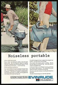 Evinrude Sportwin Noiseless Portable Outboard Motor Boat Photo 1965 Ad