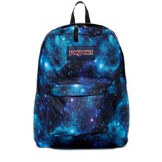 JANSPORT Superbreak Backpack (107.650 COP) ❤ liked on Polyvore featuring bags, backpacks, galaxy, rucksack bags, blue backpack, day pack backpack, jansport rucksack and backpack bags