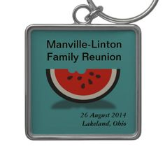Watermelon Custom Family Reunion Souvenir Keyring Key Chain by FamilyTreed makes a great gift for family members to remember your special event.