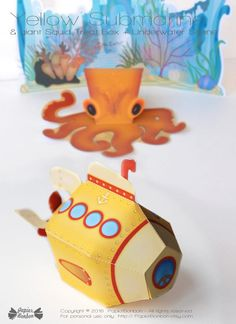 Yellow Submarine treat box printable, Yellow favor box, Yellow papertoy Paper Toys, Paper Crafts, Underwater Background, Best Scissors, Valentines Gift Box, Treat Box, Yellow Submarine, Kit, Favor Boxes