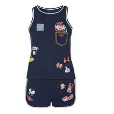 TOPSHOP Varsity Mickey Mouse Pyjama Set ($40) ❤ liked on Polyvore featuring intimates, sleepwear, pajamas, navy blue, mickey mouse pajamas, cotton pajama set, mickey mouse sleepwear, cotton pjs and cotton pajamas