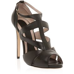 ELIE SAAB Strappy Mid Heel Sandal (7.343.275 VND) ❤ liked on Polyvore featuring shoes, sandals, heels, sapatos, elie saab, strap heels shoes, strap sandals, heeled sandals and strappy heeled sandals