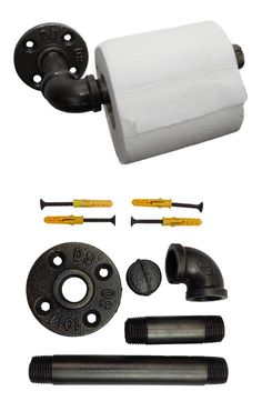 IRWOST - Support papier toilette déco industriel steampunk Un porte papier toilette unique, conçu par IRWOST, en tuyaux et raccords de plomberie. Simple et efficace ce porte papier wc s'intégrera parfaitement dans vos toilettes.