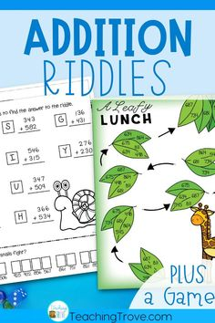 Kids love addition riddles! Adding three digit numbers will be so much fun with these 6 self-correcting worksheets and a bonus game. Perfect for centers, fast finishers and sub tubs, your 2nd grade and third grade students are going to love practicing regrouping. These math activities will be perfect to use in your math centers. #additiongames #additionworksheets #additionwithregrouping #3digitaddition