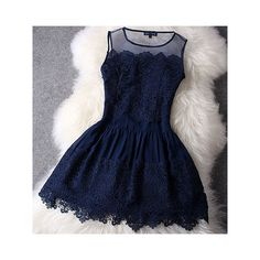 Lace Dress In Navy Blue ($50) ❤ liked on Polyvore featuring dresses, a line cocktail dress, cocktail dresses, blue cocktail dress, backless cocktail dress and short homecoming dresses