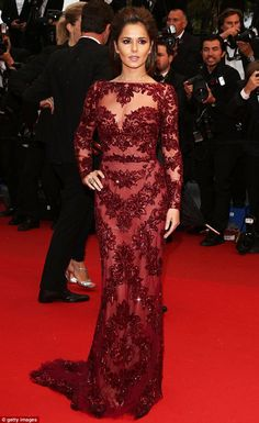 Marvellous in maroon: Cheryl Cole looks stunning in a Zuhair Murad dress at the premiere of Jimmy P. (Psychotherapy Of A Plains Indian) at Cannes on Saturday