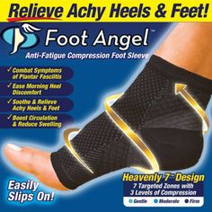 Shipping Worldwide! 100% Satisfaction Guarantee Foot Angel all-day relief for achy heels and feet! Foot Angel is the anti-fatigue compression foot sleeve that helps improve circulation and reduce swel