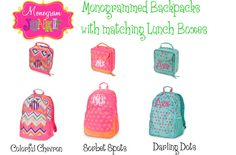 Monogrammed Backpack with matching Lunch Tote- Colorful Chevron, Sorbet Spots or Darling Dots. $59.00, via Etsy.