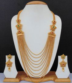 Long Necklace Ethnic Indian Jewelry Bollywood Gold Plated Loveable Ruby Set AG56