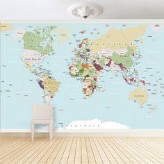 Fototapete Große Weltkarte: Mit dieser your design Fototapete zieht die Welt bei Ihnen ein und Sie haben die ganze Welt im Blick. Die tollen Farben un