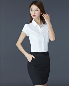 Summer Short Sleeve Formal OL Styles Work Wear Suits With Blouse And Skirt For Ladies Office Beauty Salon Clothing Set