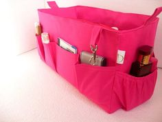 Extra large Purse organizer for Louis Vuitton Neverfull MM- Bag organizer insert in Hot Pink fabric