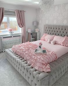 The post Pretty & Pink Bedroom goals again from the lovely & our medium blush pink bow appeared first on . Teen Bedroom Designs, Cute Bedroom Ideas, Cute Room Decor, Room Ideas Bedroom, Bedroom Furniture, Pink Bedroom Decor, Aesthetic Room Decor, Stylish Bedroom, Home Decor Shops