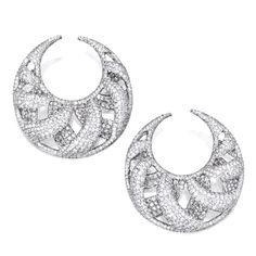 Pair of 18 Karat White Gold and Diamond Earrings
