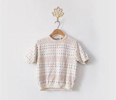 Vintage L.L. Bean knit cropped t-shirt sweater
