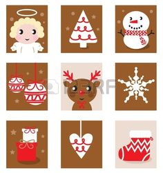 Christmas icon blocks isolated on white ( red