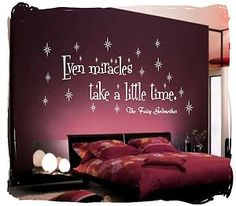 EVEN MIRACLES TAKE A LITTLE TIME Wall Sticker Quote Art Decal Bedroom (CH61) | eBay