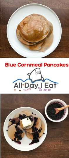 Blue Cornmeal Pancakes! An easy and delicious alternative to flour based pancakes! Cornmeal adds texture and nutrition to your favorite breakfast meal.   www.alldayieat.com