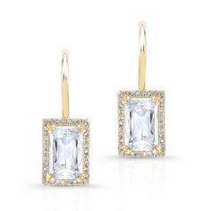Yellow Gold Rectangle White Topaz Diamond Earrings Earrings measure approximately in length White Topaz, White Gold, Diamond Jewelry, Diamond Earrings, Geometric Jewelry, Jewelry Box, Candle Holders, Jewelry Design, Rose Gold