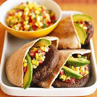 PORTOBELLO-BLACK BEAN BURGERS WITH CORN SALSA by SELF