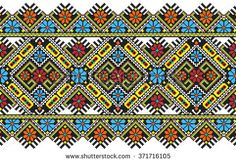 embroidered good like handmade cross-stitch ethnic Ukraine pattern - stock…