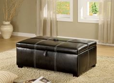 Appoline Contemporary Black Leatherette Ottoman w/Pull-Out Bed