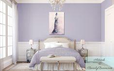 Peaceful Bedroom Benjamin Moore Lavender Mist Bedrooms with Lavender Bedroom With Purple And Pink Canvas Art Shabby Chic Bedroom Lilac Bedroom, Feminine Bedroom, Bedroom Colors, Home Bedroom, Bedroom Wall, Girls Bedroom, Bedroom Decor, Bedroom Ideas, Lavender Bedrooms