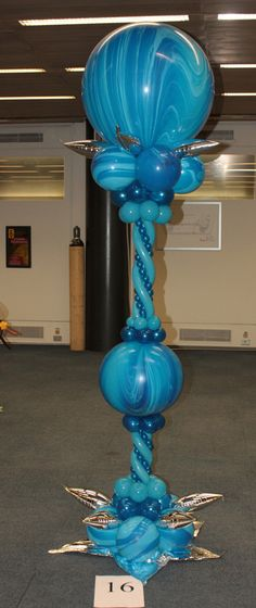 Mulit-color blue column with blue marble bubble Balloon Tower, Balloon Stands, Balloon Display, Balloon Columns, Balloon Arch, The Balloon, Balloon Ideas, Balloon Wall, Balloon Bouquet