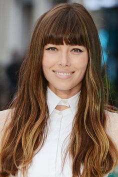 look polished and put-together with minimal effort. This season, brow-grazing blunt bangs like Jessica Biel's are the fringe to flaunt, so stock up on a good round brush and som