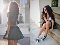 going green in skirts and sneakers