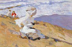 Instantánea, óleo sobre lienzo. Representa una mujer sentada sobre la playa y sujetando en sus manos una cámara Kodak.