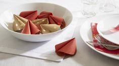 Keep your guests entertained with easy to make Paper Fortune Cookies for your Chinese New Year celebration. Tesco Online, Gold Paper, New Year Celebration, Fortune Cookie, How To Make Paper, Chinese New Year, Favours, Serving Bowls, Food And Drink