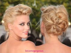 Curl your hair for more texture, then separate hair into 3-5 large sections (1 large section should be made at the top front section of the head. Twist and pin until all your hair is up. This updo is very easy and flexible to do.
