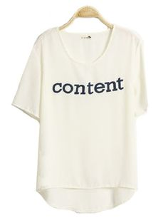 Candy Color Letters Printed Short-sleeved T-shirt White