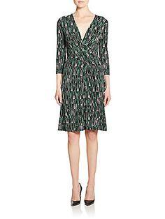 BOSS HUGO BOSS Eufina Printed Wrap Jersey Dress <br>