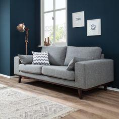 Sofa Billund (2-Sitzer) - Strukturstoff - Hellgrau