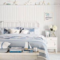 Küsten Schlafzimmer mit Bett Metall - Wohnideen Magazin