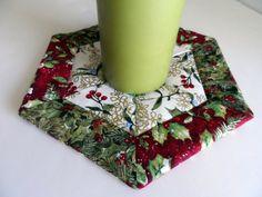 Hexagon mug rug Christmas mug rug quilted holiday by SusansPassion