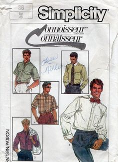 Simplicity 7015 1980s Connoisseur Collection Mens  Shirts vintage sewing pattern by mbchills,