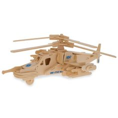 Battle Fighter Helicopter Model Kit Wooden 3D Puzzle