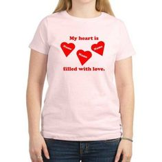CafePress Personalized My Heart Filled Women's T-Shirt, Light, Size: Medium, Pink
