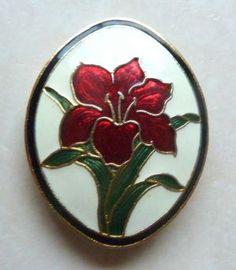 Vintage red iris flower, cloisonne enamel floral brooch by Fine enamels,  Fish and Crown. The brooch is designed in an oval shape and is set with a red iris flower and green leaves against a cream background.  Cloisonne enamel with 22ct gold plating.