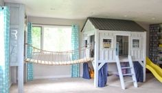 Cabin Playroom with Rope Bridge, Diy And Crafts, cabin playroom with rope bridge to reading nook. Dream Rooms, Dream Bedroom, Girls Bedroom, Bedroom Decor, Build A Playhouse, Kids Indoor Playhouse, Kids Indoor Playground, Playground Ideas, Reclaimed Wood Coffee Table