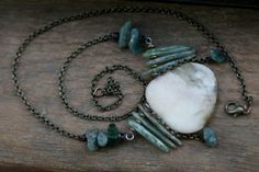 Reserved for Sandra-Special List-Waters of March Necklace-Raw,Primitive Tribal Gipsy,Large Agathe Stone,Green Kyanite Stone,Blue,Artisan