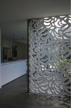 Room divider as art work. Metal Wall Panel, Metal Screen, 3d Wall Panels, Metal Panels, Room Deviders, Newel Post Caps, Room Partition Designs, Separating Rooms, Room Divider Screen