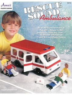 Make an Ambulance in Plastic canvas patterns. Be on the scene for hours of play with a ready-to-roll ambulance, gear and crew. Each design is stitched on 10- and 7-count plastic canvas using #4 worsted-weight yarn.  (aff link)