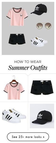 """Outfit For A Summer Day"" by erinmaries on Polyvore featuring adidas, Prada, Frame Denim and summer2016"