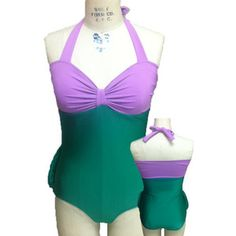 Diy Ariel bathing suit (+ drawn on scales + sequins on purple part)