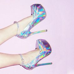 Holographic wilver high heels shoes